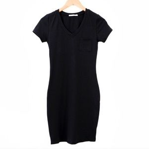 Dresses - Black V Neck Fitted Tee Shirt Dress